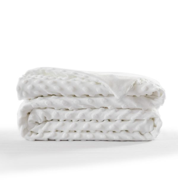 Embossed Minkly Weighted Blanket White